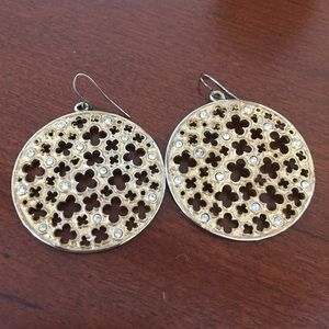 Gold earrings with crystal accents and fun design!
